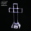 Wholesale crystal jesus cross with led light base religious gifts for christian souvenir crystal craft