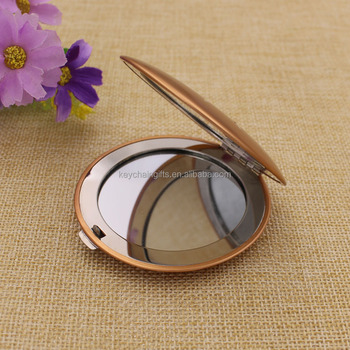Shiny gold round compact mirrors pocket for wedding gifts