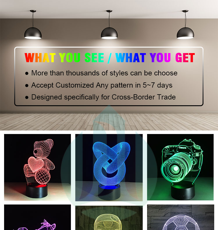 Custom different design acrylic 7 colors night light 3d illusion led lamps