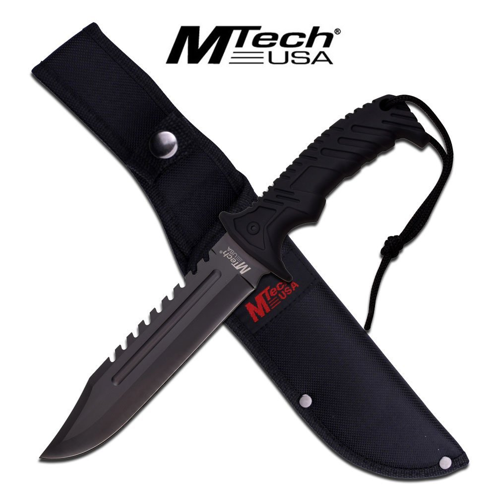 MTECH USA MT-20-57BK Fixed Blade Hunting Knife, Black Blade, Black Rubberized Handle, 12.5-Inch Overall