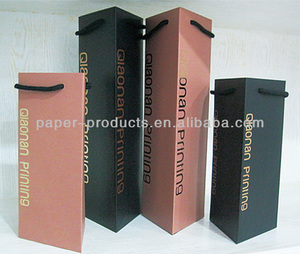 triangle shaped wine gift paper bag/wine bottle bag with metal handle