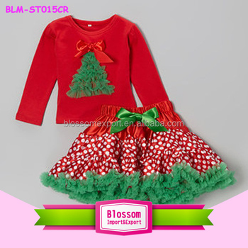 Wholesale Red Long Sleeve Top Green Xmas Tree Match Polka Dot Girls Pettiskirt Baby Girls New Year Christmas Outfit For Children