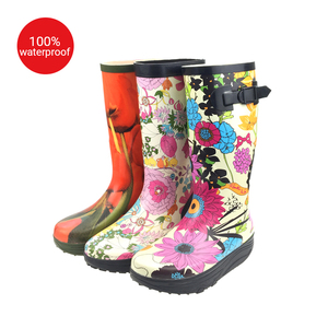 printed design sex ladies increase heel thigh high boots rubber boots for women rain