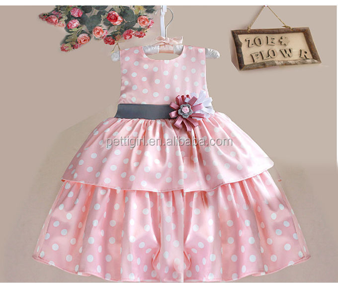 Latest Fashion Girls Pink Dresses With Pilka Dot Cotton Casual Girl Layer Dress Fancy Baby Wear фото