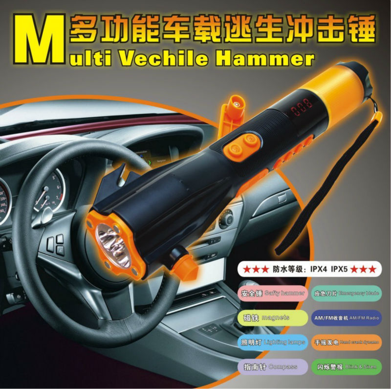 Escape Kit Multi Function Vehicle Emergency safety Hammer XLN-703