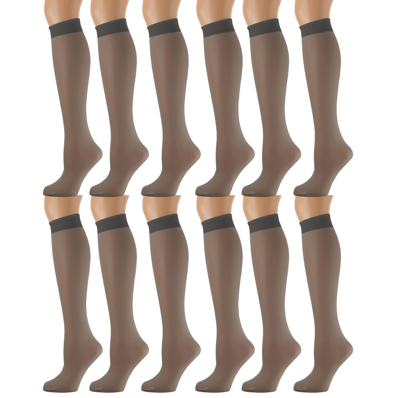 40c3055c9 Get Quotations · 12 Pairs of excell Sheer Trouser Socks for Women, 20  Denier Knee High Dress Socks