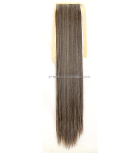 27''Professional factory excellent human hair grey ponytail