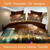 3d all size bedding sets ,3d bed sheet Modern Building,bed sheets 3d manufacturers in china