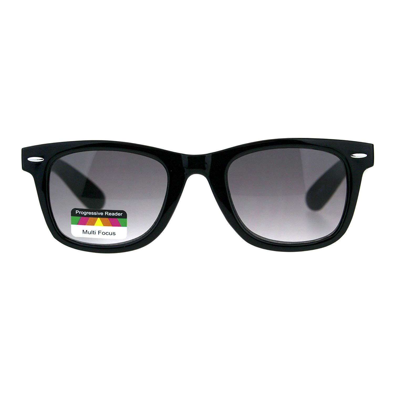 ff8b35497d Get Quotations · Retro Horn Rim Multi 3 Focus Progressive Sun Reader  Sunglasses