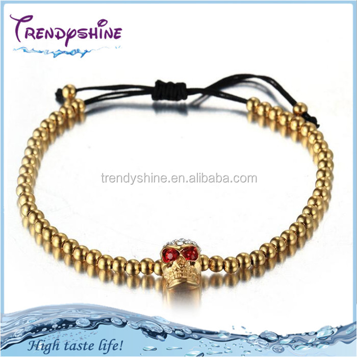 Fashion women's gold stainless steel skull muslim bracelet prayer beads