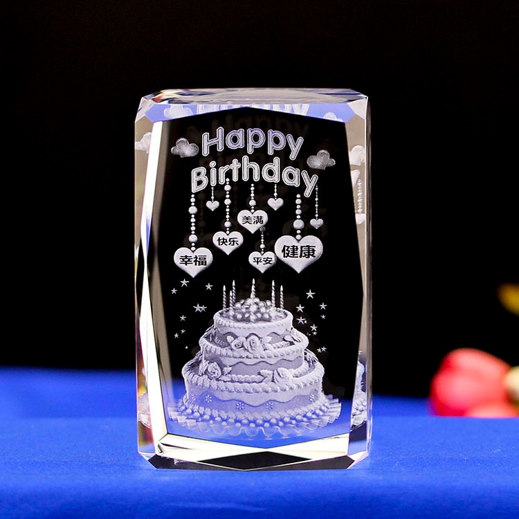 Cheaper 3d laser engraving crystal block for birthday gifts