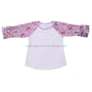 white body purple Easter bunny printed long sleeve ruffled baby t shirts in bulk