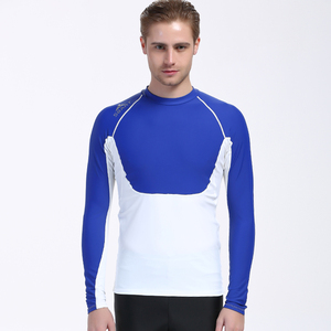 Custom wholesale men's long sleeve swim suit design your own rash guard two pieces mens t shirt for swimming/snorkeling/diving