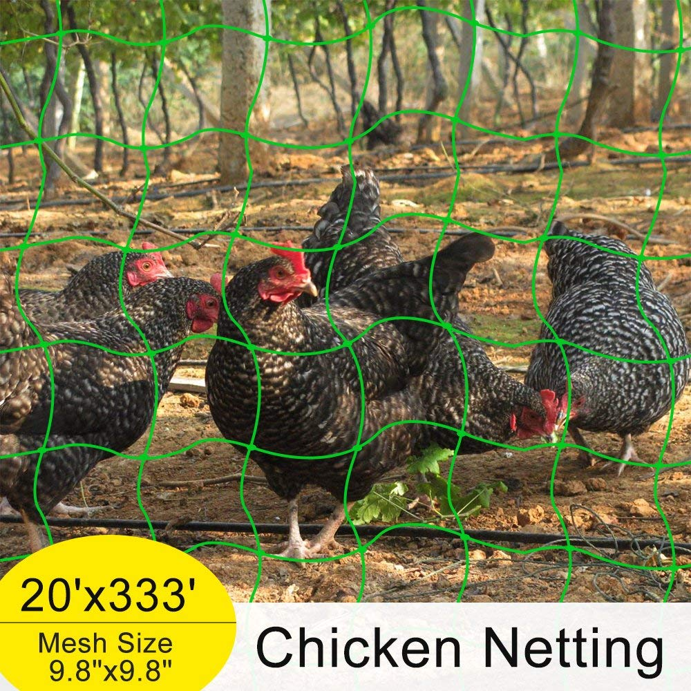 "Mr.Garden Reinforced Edge Trellis Netting,Chicken Netting,Poultry Fence, (Support for Climbing, Fruits, Vegetables and Flowers) White Green 9.8""-6 W20'xL333'"
