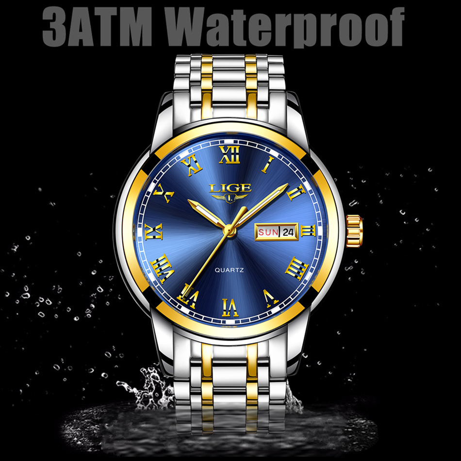TOP brand lige  Mens chronograph Luxury Watches steel band quartz Male clock gold  chain watch for men