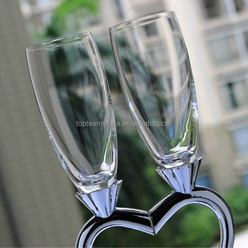 Heart Shape Crystal Champagne Flutes Wedding Toasting Drinking Wine Gles