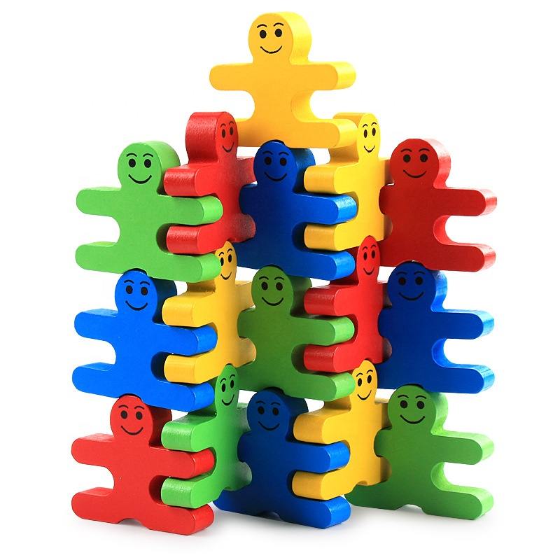 Innovative products 2018 puzzle wooden toys for kids balance villain building block men baby kindergarten early educational toy