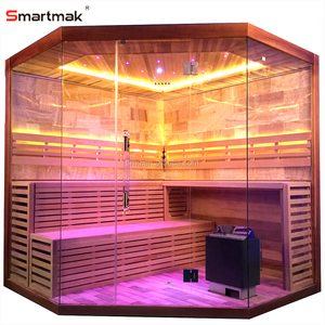 Smartmak Luxury Rock Salt Sauna Steam Room,Led Star Lights Corner Sauna For Sale