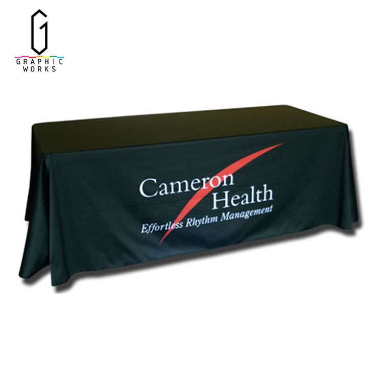 Custom gold satin full printed fitted trade show table cloth