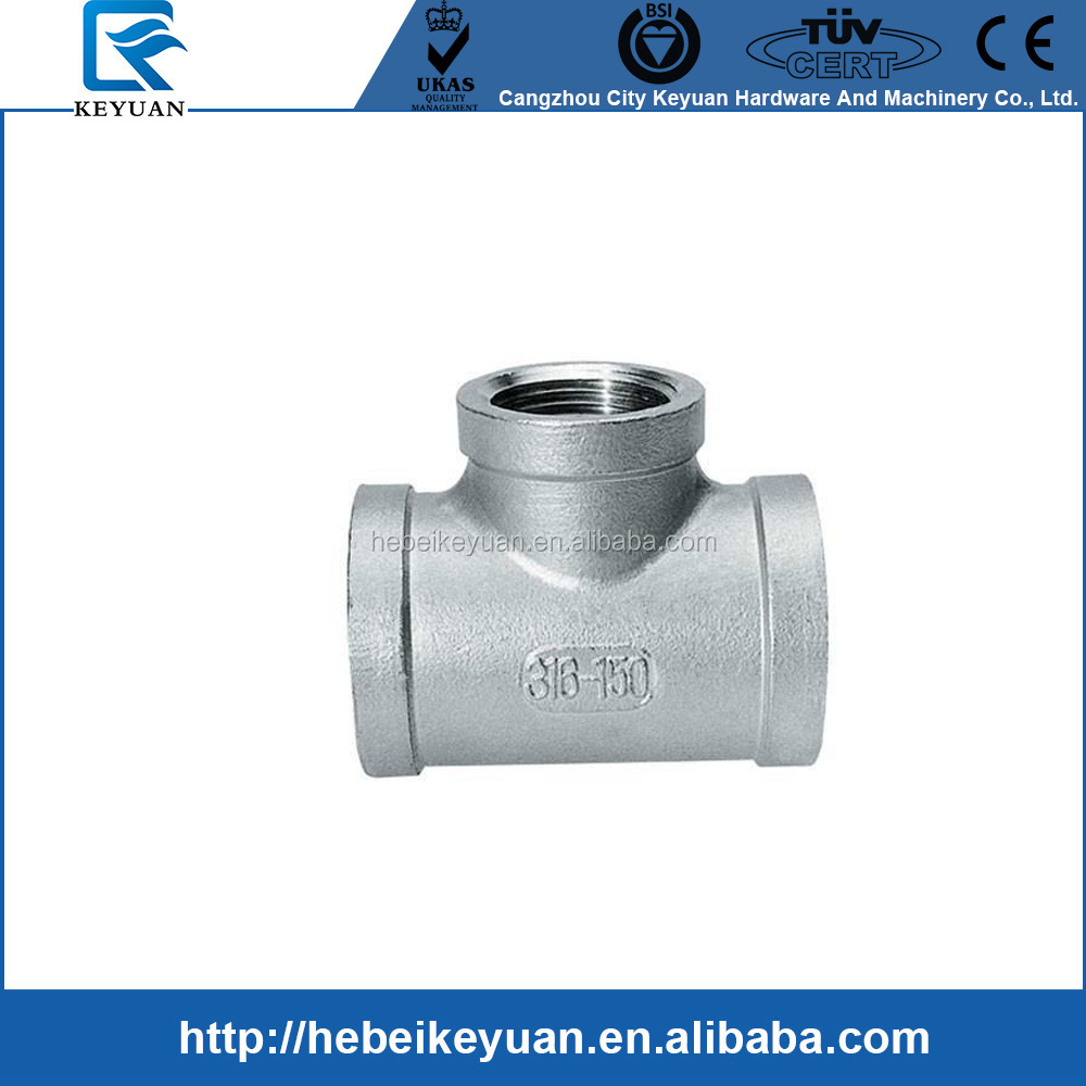"1/2"" class 150 stainless steel threaded pipe equal Reducing Tees"