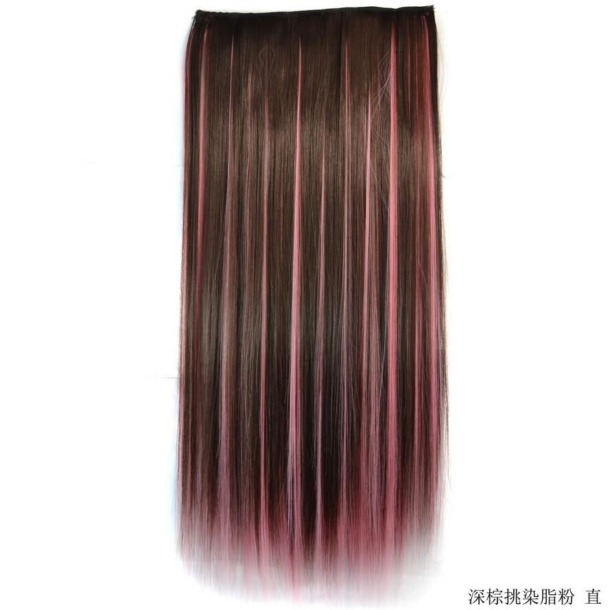 Buy Free Shipping Dark Brown Change To Pink Color Ombre Clip In Hair