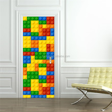 Building blocks children LEGO doors decorated wooden doors renovation living room doors creative self-adhesive decorative waterp