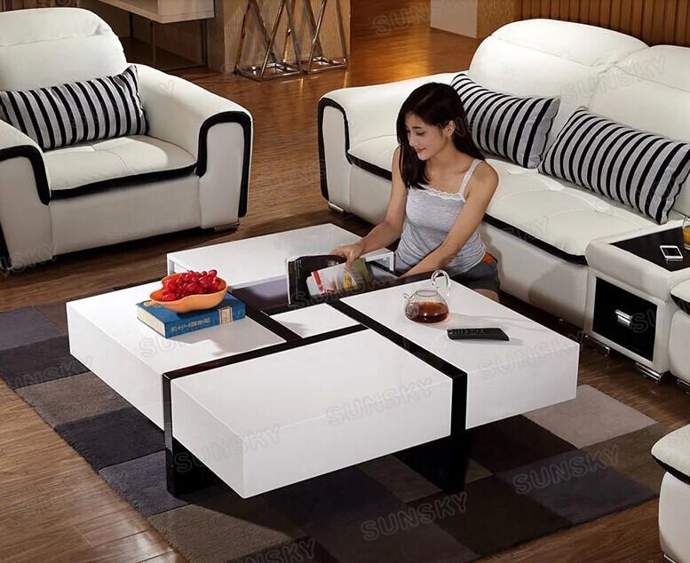 1457A MDF de alto brillo modernos de mesa de centro de muebles de madera de la habitación de la Mesa de café con 4 cajones