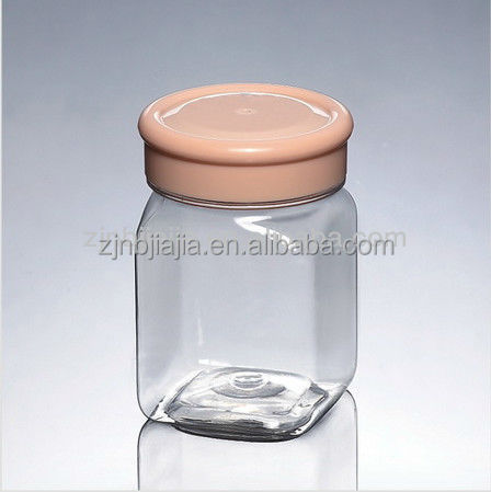 250 ml libre de bpa pet square plastic clear frascos decorativos candy