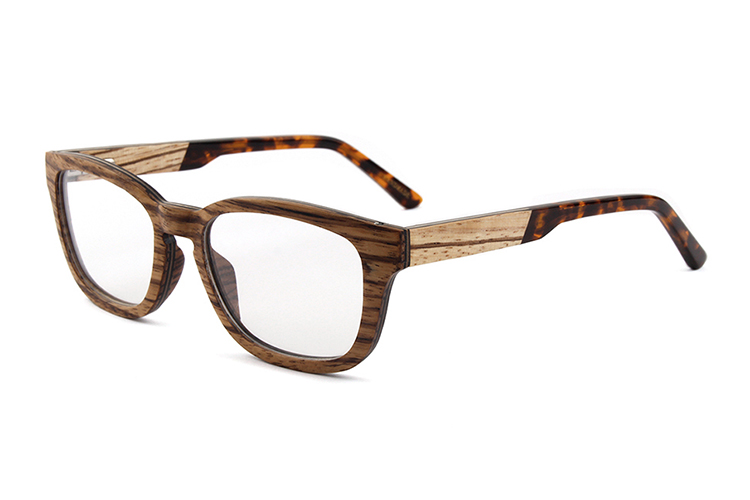 zebra wood frame tortoise acetate tips cheap eyeglasses wooden glasses frames - Wooden Glasses Frames