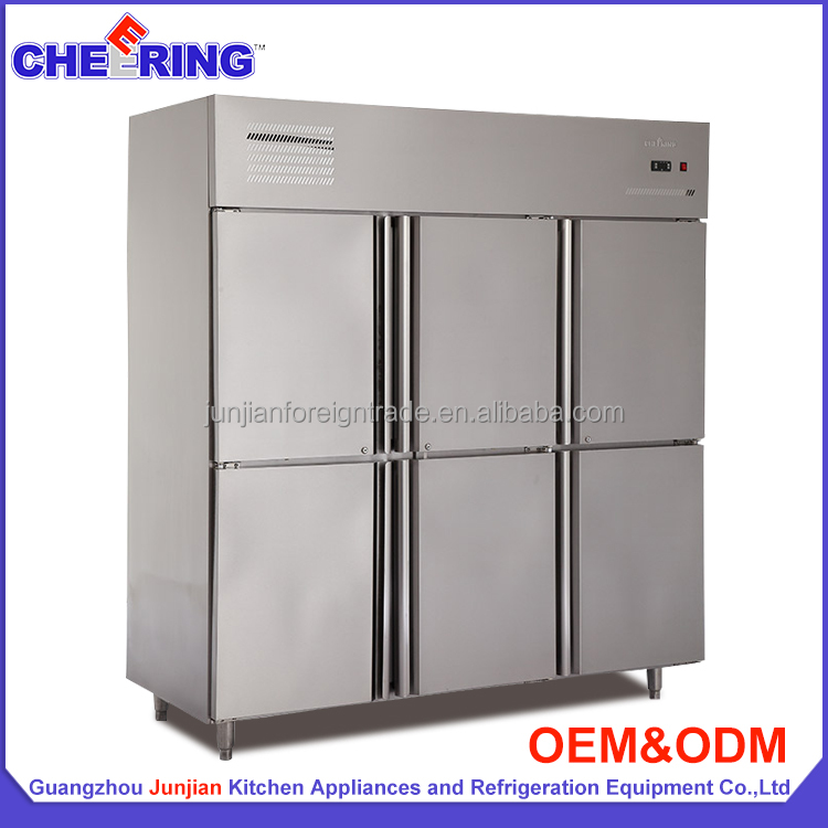 1590L Hot sale fan cooling commercial 6 doors refrigerated upright cabinet