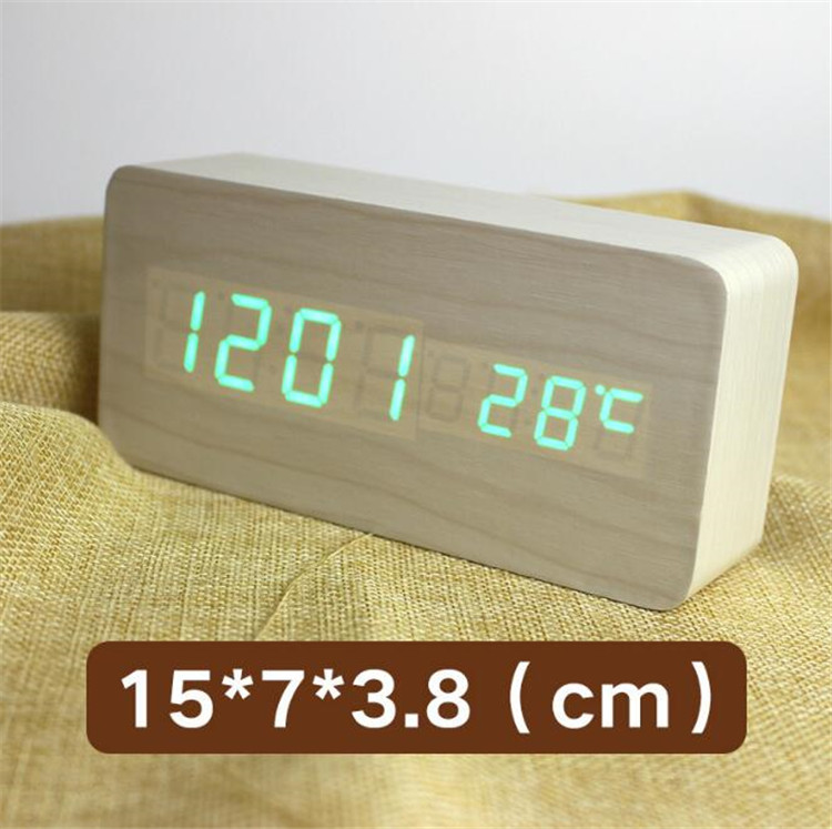 Wood Led Digital Alarm Clock Thermometer Timer Calendar Voice Control Wireless Qi Charging For Phone Despertador Clock