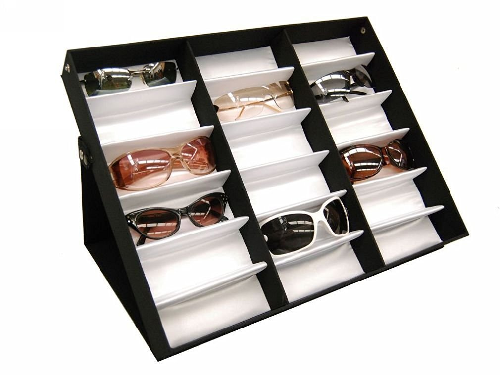 5f3ca61937487 Get Quotations · 18 Piece Sunglass Glasses Watches Display Tray Case Stand  Display Box Sunglasses Rack