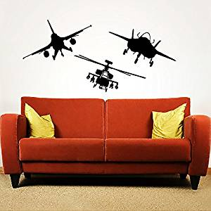 Wall Decals Military Aircrafts Plane Airplane Fighter Jet Copter Helicopter Aviation Gift Boys Kids Nursery Wall Vinyl Decal Stickers Bedroom