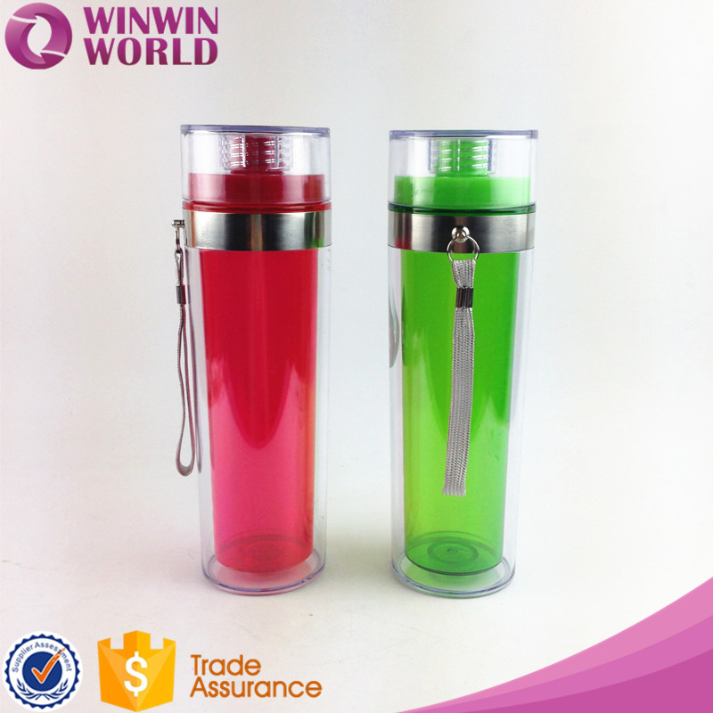 BPA Free Double Wall Colored Sport Drinking Plastic Water Bottle