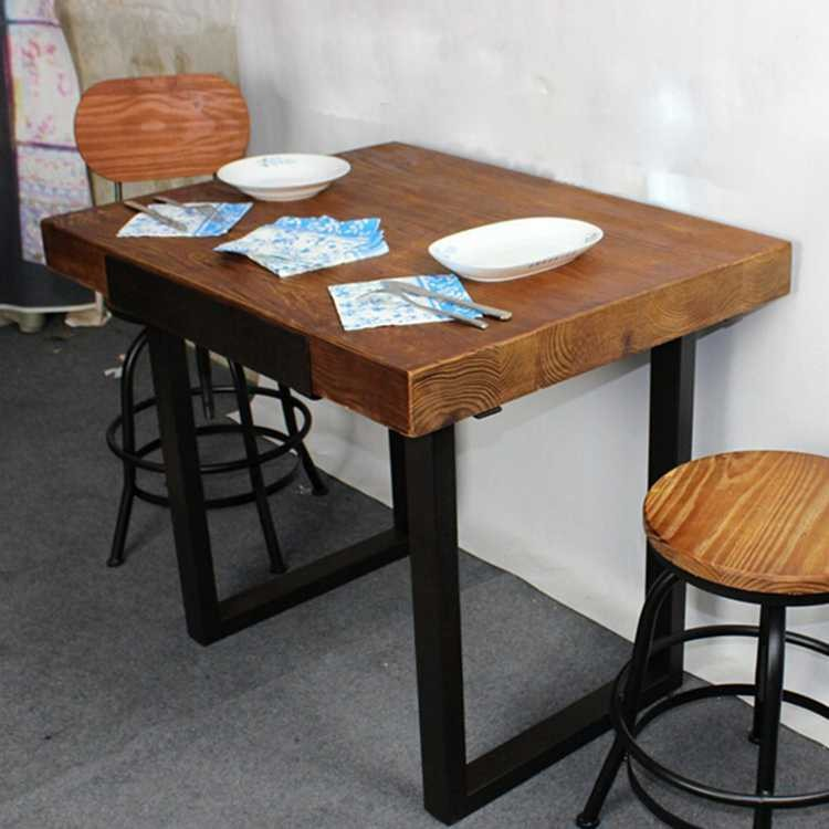 Thick Wood Top Industrial Table With Metal Fram Buy Industrial - Thick wood table top