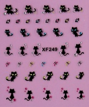 Beleza bonito mulheres gato preto 3D nail stickers Transferência de Água da arte do prego preço baixo