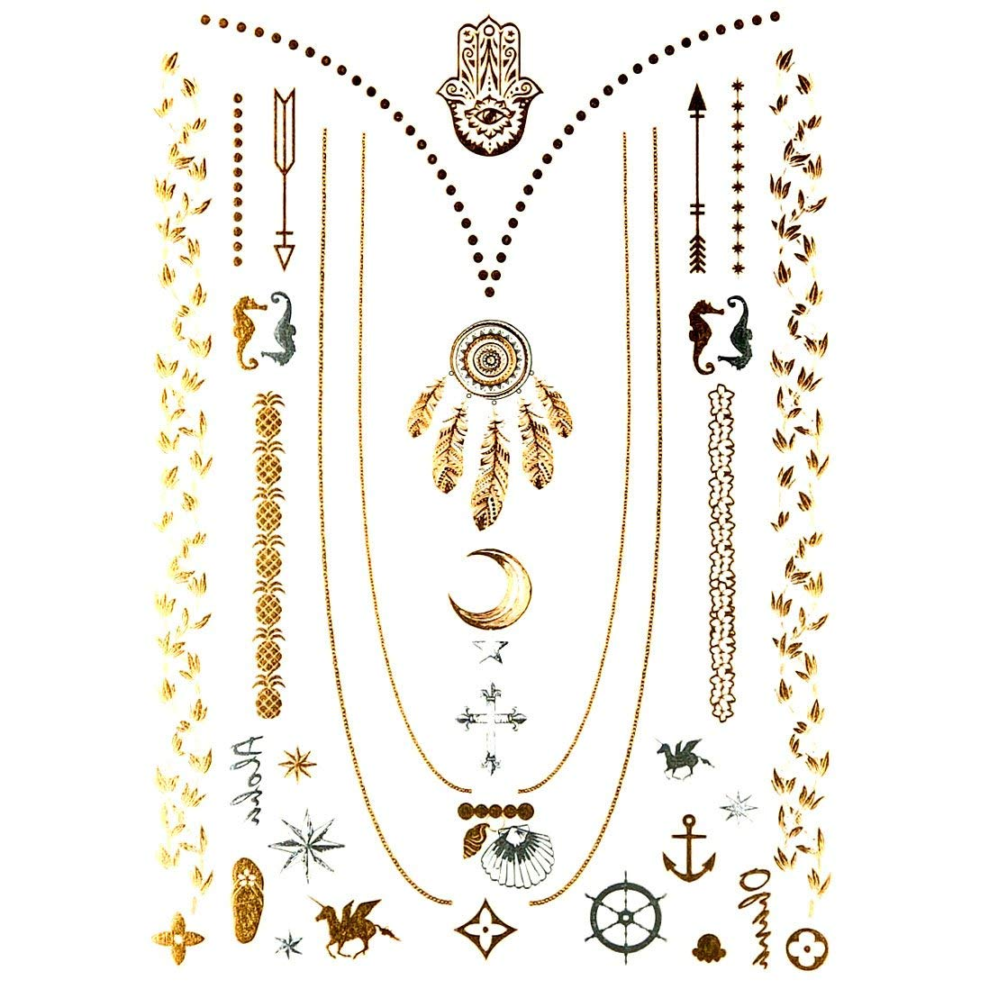 1b6d505a681e9 Get Quotations · Oottati Premium Metallic Assorted Temporary Tattoo -  Feathers Dream Catcher Cross Hand Necklace Hamsa Hand (