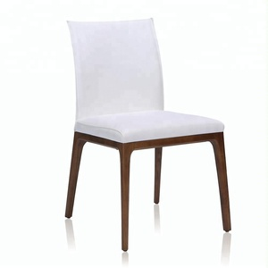home goods solid wood carved white leather dining chair