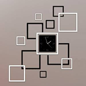 Toprate(TM) Creative Black and Silver Rectangle Square Modern Stylish Wall Clock Mirror Wall Clock Fashion Modern Design Removable DIY Acrylic 3D Mirror Wall Decal Wall Sticker Decoration