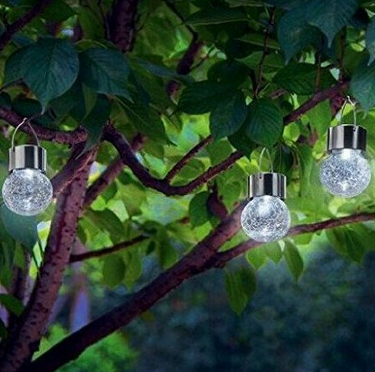 Hanging led solar crackle glass ball decorative garden light