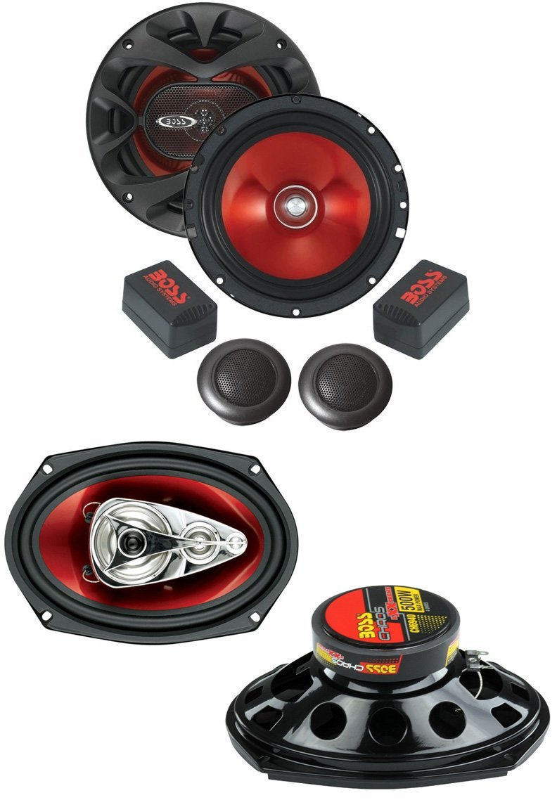 "BOSS Chaos CH6940 6x9"" 500W 4-Way + CH6CK 6.5"" 350W 2 Way Car Audio Speakers"