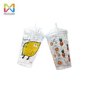 Freezing Gel Plastic Double Wall Cup With Straw