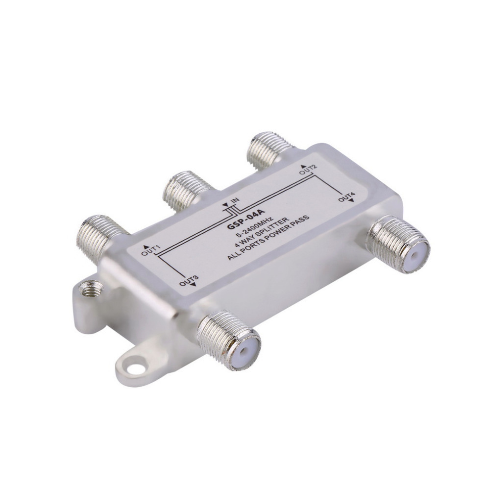 4 Way Satellite/Antenna/Cable TV Splitter Distributor 5-2400MHz F Type