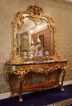 df82de2a35b6 Luxury French Louis XV Style Golden Console Table   Mirror European Classic  Living Room Vivid