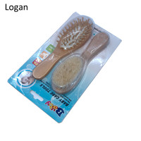 Hot sale Wooden Baby Hair Brush and Comb Set for Newborns and Toddlers Natural Soft Goat Bristles for Cradle Cap