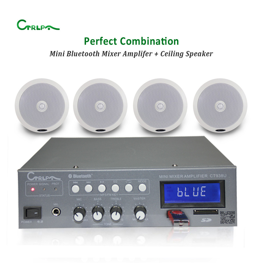 CTRLPA mini USB power mixer amplifier with bluetooth 60W+coaxial ceiling speaker Professional Public Address System