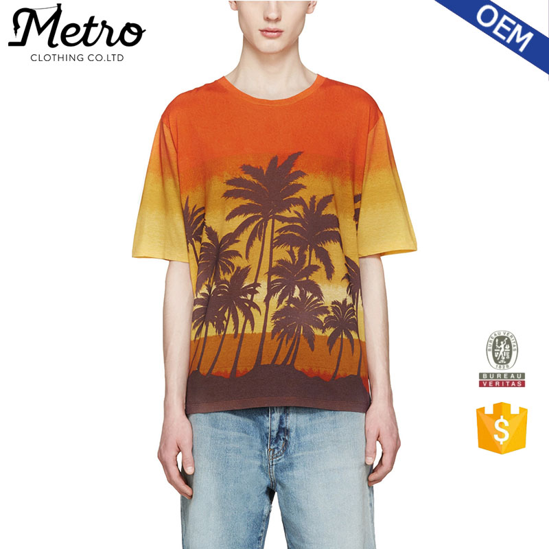 Custom Cotton Jersey Multicolor Palm Tree T shirts