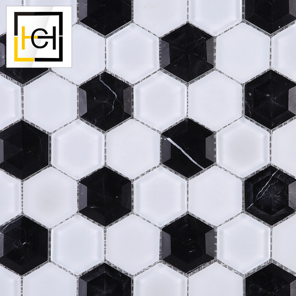 Chinese Foshan Low Price Cheap Decorative Black White Colored 3D Hexagon Design Glass Mix Marble Mosaic Tiles Ceramic Wall Tile