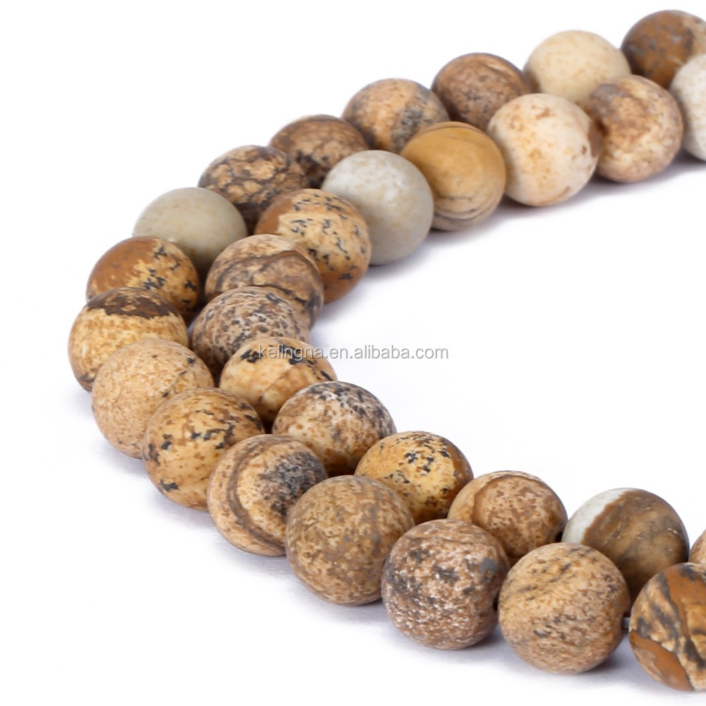 Hot Selling Matte Round Picture Jasper Loose Beads Natural Gem Stone