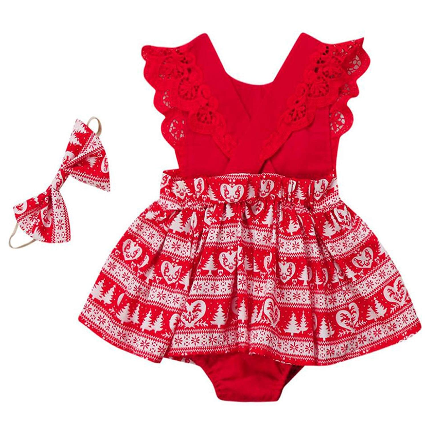 d673505d1955 Get Quotations · YJM Baby Girl 2PC Christmas Outfit